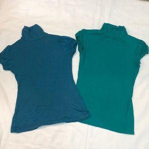 2 short sleeve turtleneck tops